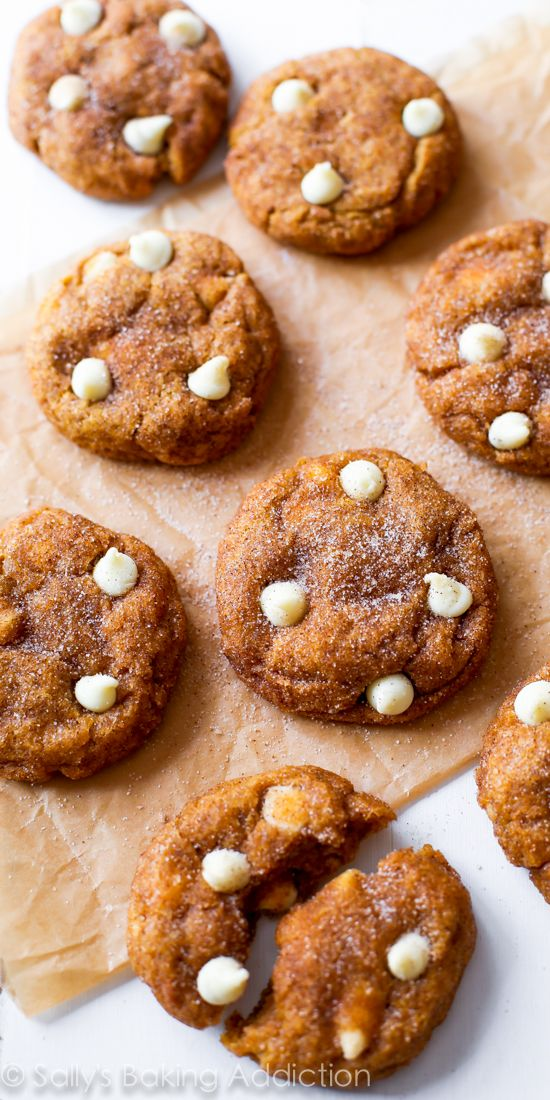 CHEWY Pumpkin Snickerdoodle Cookies loaded with white chocolate chips. These are a must-try!