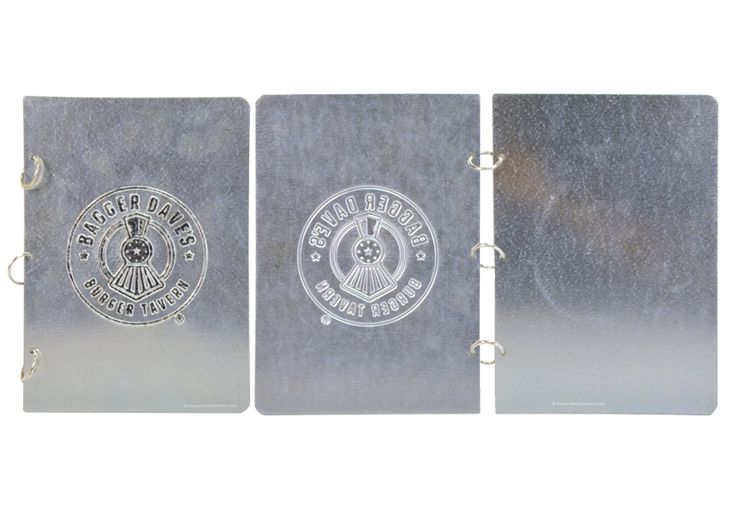 Bagger Daves - Steel Menu Covers - Galvanized Steel Front and Back Cover with Hinged Rings