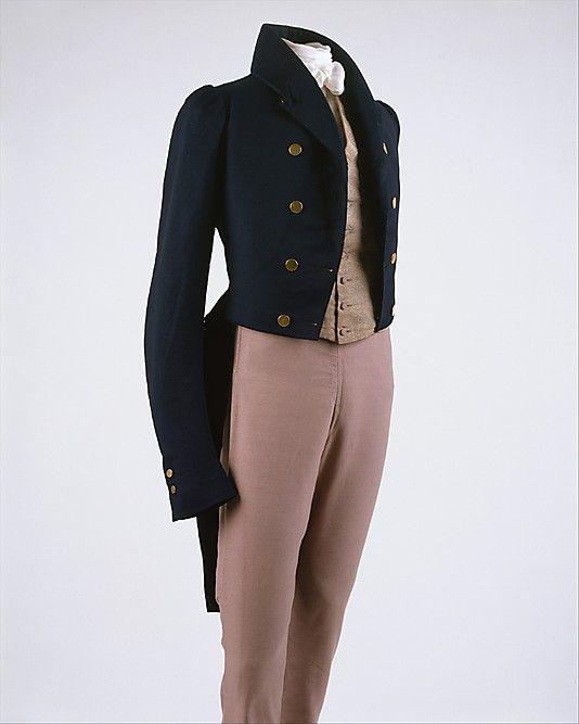 1829 men's suit (frock coat, waistcoat, trousers) by Newton, British, made of wool, The Metropolitan Museum of Art 1995.292a–c