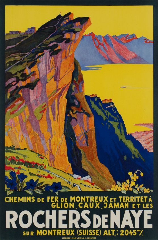 Rochers de Naye, Chemins de Fer Montreux Glion Caux by Muller Johannes Emil / 1930. Small size poster for the famous railway from Montreux to the Rochers de Naye mountain. The Hotels of Caux over Montreux are at the middle ground, the Lake of Geneva and the French Alps in the background. This affordable original poster attributed to J.E. Müller, is finely printed in stone-lithography and in perfect condition.