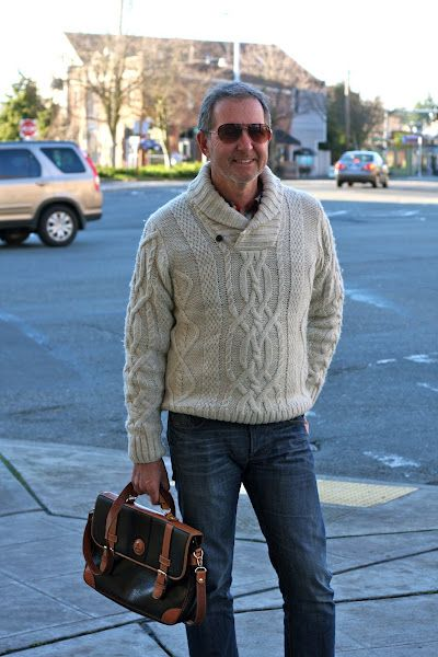 look at that sweater. look at that manbag.