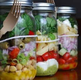 The best new way to bring your lunch to work. 3 super simple salads in Mason jars!  Dressing on the bottom, greens on top!