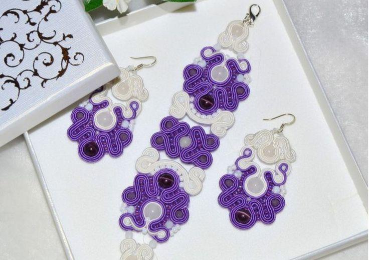 biżuteria ślubna sutasz, fiolet i biel  arttereza