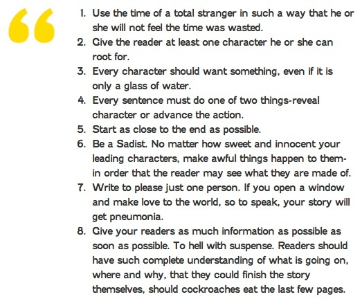 How to write a great story, from Vonnegut Kurt Vonnegut's 8 Tips on How to Write a Great Story
