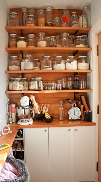 jars.: Glasses Container, Open Shelves, Kitchens Ideas, Glasses Jars, Organizations Kitchens, Small Spaces, Mason Jars, Kitchens Storage, Pantries Storage