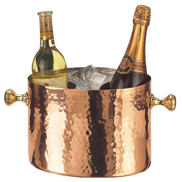 Copper Ice Bucket by Old Dutch ❤ liked on Polyvore featuring home, kitchen & dining, bar tools, copper wine bucket, copper champagne bucket, copper wine chiller, copper ice bucket and hammered ice bucket