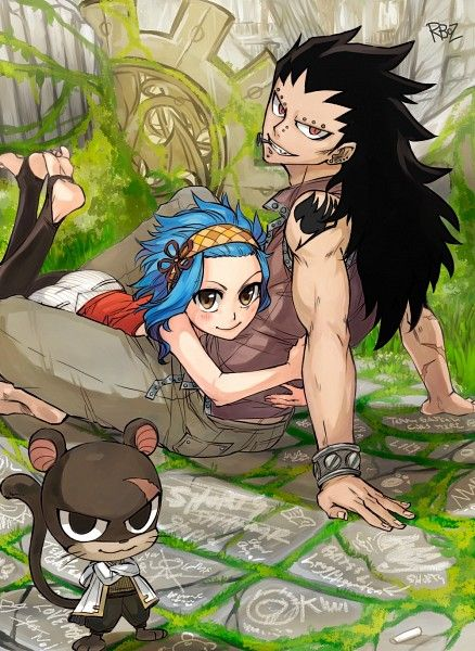Levi, Lily, and Gajeel from Fairy Tail