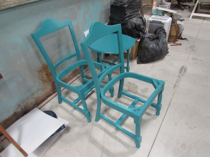 The bare frames in their beautiful final colour- ready for ReWrap to transform them into their final glory! Refinishing done by #finishingcreations http://www.furniturebank.org/ChairAffair/ Photo by myself