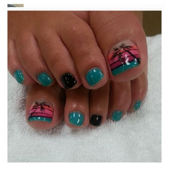 The 25 best pedicure pictures ideas on pinterest summer toe beautiful looking palm tree nail art design on the toes the amazing color combination of blue green black orange and pink make the design stand out prinsesfo Gallery