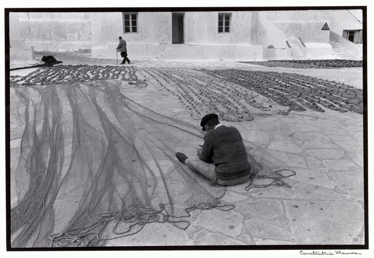 "Constantine Manos View profile Mykonos. 1967. Repairing fishnets. ""A Greek Portfolio"" p.41 © Costa Manos/Magnum Photos"