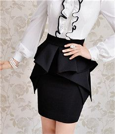 Autumn Irregular High Waist Skirt Red Black White Sapphire Blue