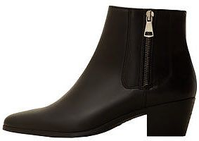 Womens black zipped leather ankle boots from Mango - £69.99 at ClothingByColour.com