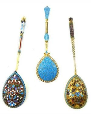 Appraise and identify makers marks for RUSSIAN SILVER: Three Russian enameled spoons: