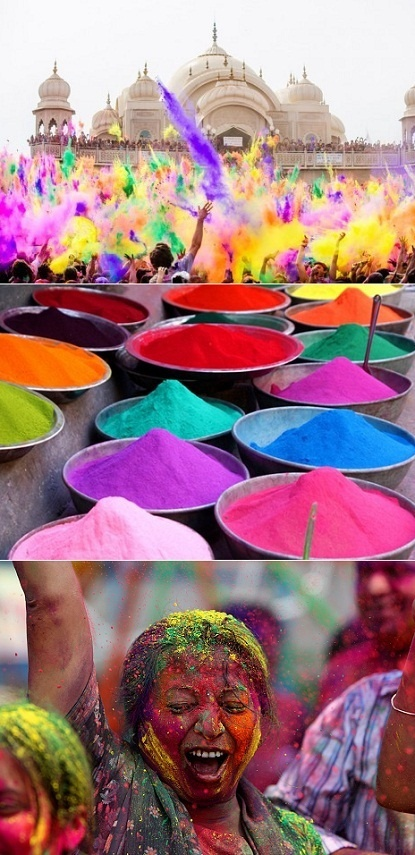 Holi - A Hindu festival celebrated in India in March to celebrate the triumph over evil from the Hindu story of the salvation of the Hindu god Prahlada and the destruction of the evil god Holika. It is celebrated by throwing brightly colored chalk at each other as a symbol of joy.