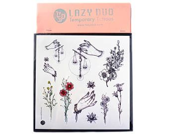 LAZYDUO Tiny bloemen Tattoo klassieke Tattoo Tarot Tattoo kleine bloemen Tattoo bloem Tattoo Vintage Tattoo kleine tatoeages minimale Tattoo Stickers