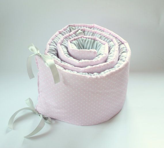 *****Please make notice this is bumper for half of the crib/cot*****  This lovely and stylish handmade cot bumper is made from soft cotton and batting.