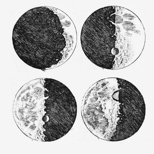 noir, dessin, lune, bizarre, écrire