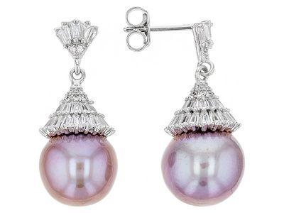 Genusis Pearls(Tm) 12.5-13mm Cultured Freshwater Pearl & Bella Luce(R) Rhodium Over Silver Earrings