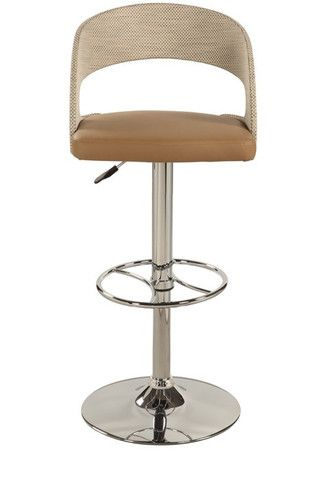 chintaly curved round back pneumatic swivel stool chrome beige