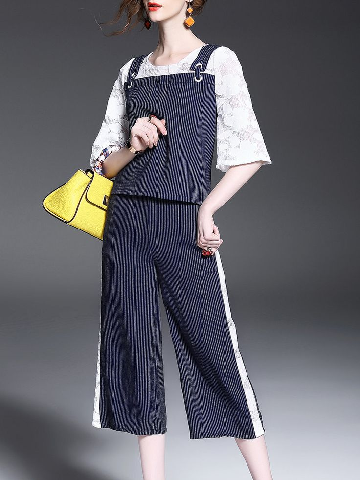 Shop Jumpsuits - Blue Two Piece Polyester Guipure Lace Casual Jumpsuit online. Discover unique designers fashion at StyleWe.com.