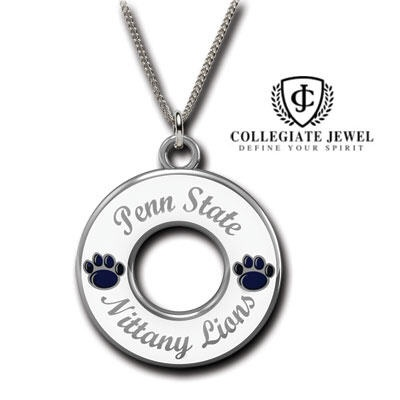 Moyer Jewelers: Penn State Pendants - STERLING SILVER PENN STATE NITTANY LION WHITE CIRCLE HOOP PENDANT  Perfect finishing touch to any white out game day.  $129