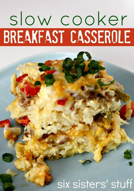 Slow Cooker Breakfast Casserole 1 (30 oz) package frozen shredded hash brown potatoes 1 lb ground sausage (I used Italian sausage), browned and drained 2 cups shredded cheddar cheese 1/2 cup shredded mozzarella cheese 1 onion, diced 1 green pepper, diced 1 red pepper, diced 12 eggs 1/2 cup milk 1/2 teaspoon salt 1/4 teaspoon ground black pepper