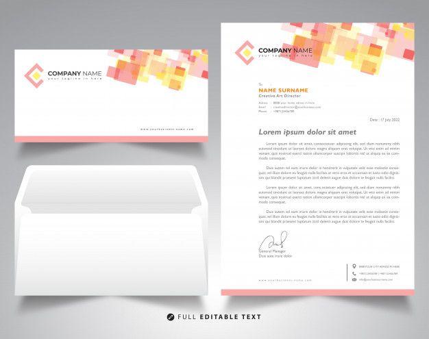 Corporate Letterhead Template Envelope Mockup Letterhead
