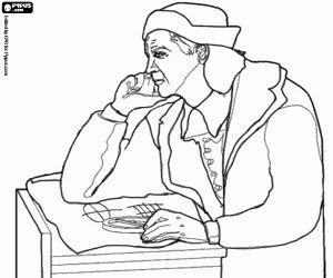 Colorear Meditación de Cristóbal Colón