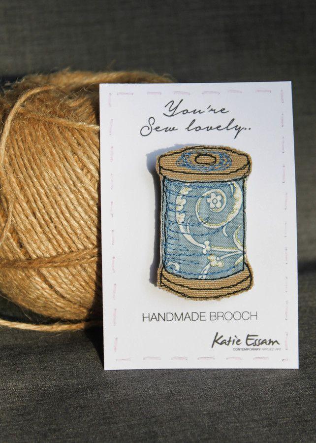 Textile Thread Spool Brooch by katie essam
