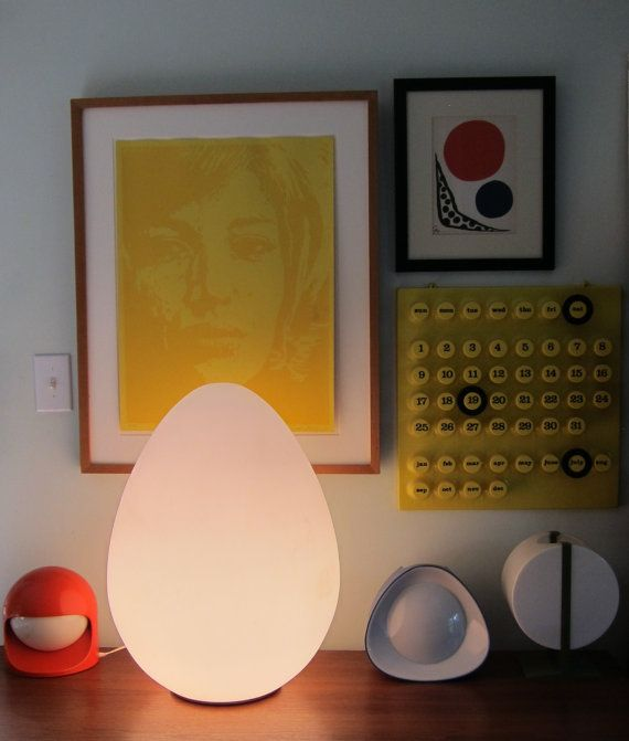 Monumental Vistosi Glass Egg Lamp Mid Century Italian by badeye