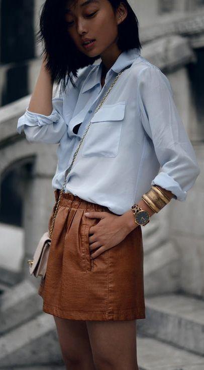 Camel Leather Skirt Outfit Idea by Caroline Receveur & Co