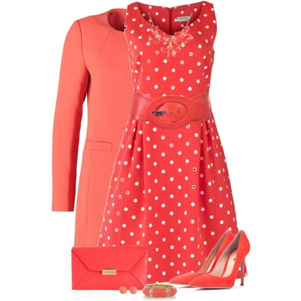 Coral by daiscat on Polyvore featuring moda, People Tree, Morgan, Gianvito Rossi, STELLA McCARTNEY, Kenneth Jay Lane and Charlotte Russe