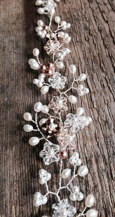 Bridal hair vine pearl and Swarovski crystal от JoannaReedBridal