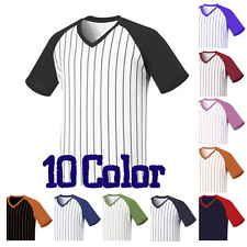 Men PinStriped Baseball Raglan Jersey Short Tshirts V-Neck Basic Tee Casual Tops