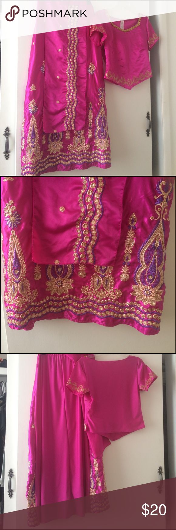 Beautiful Bollywood costume fuchsia, size M Beautiful Bollywood costume. Please note shirt is M and skirt says L but fits like a medium. The medium was like a small so I got the L instead. Priced to sell and looks authentic 💕Includes blouse, skirt and scarf. Other