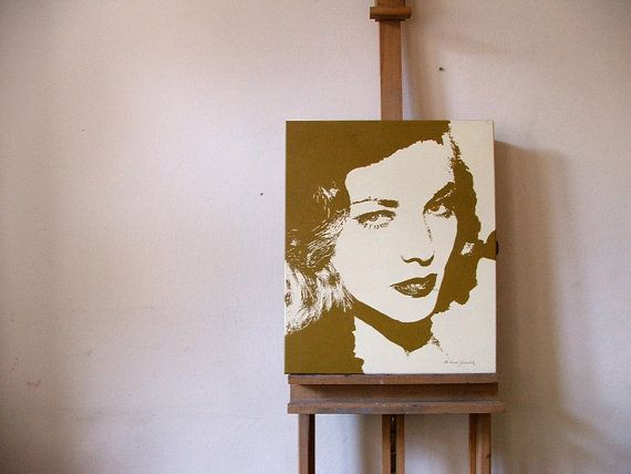Woman portrait mid century actress Lauren Bacall by HardLineStudio
