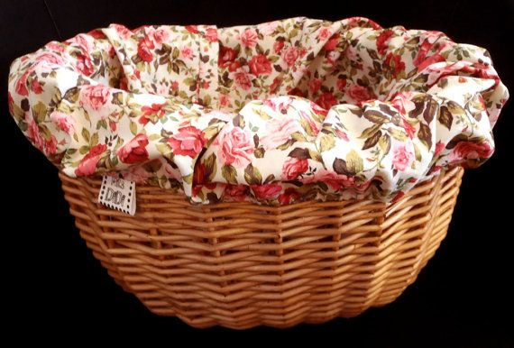 Bicycle BASKET LINER  Shabby chic style ROSES  by MrsDiDiCraftShop