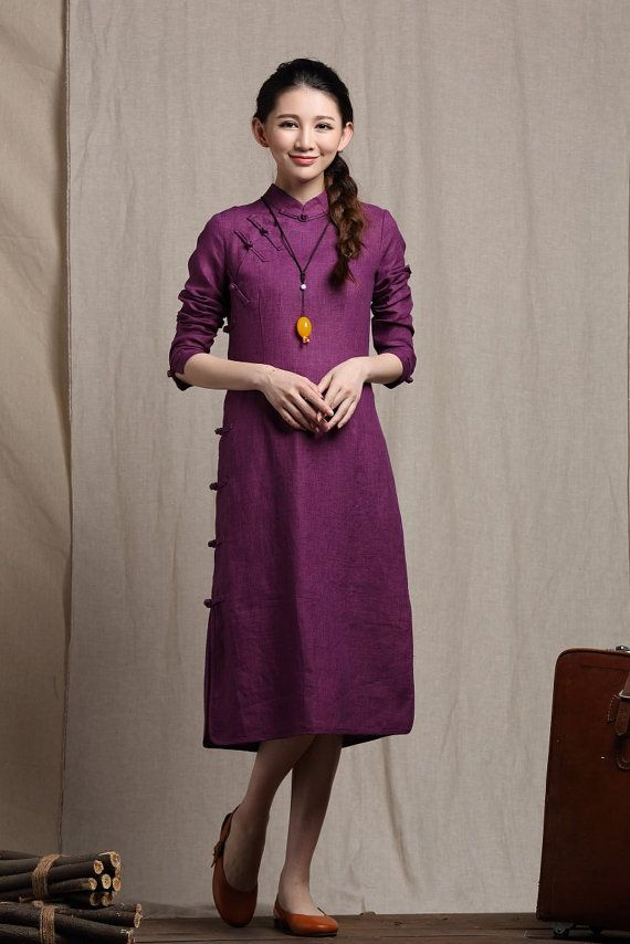 Purple Linen Dress Long Sundress / Maxi Kaftan Dress/ Loose Summer Dress / Plus size clothing XS-XL,XXL Custom A8045