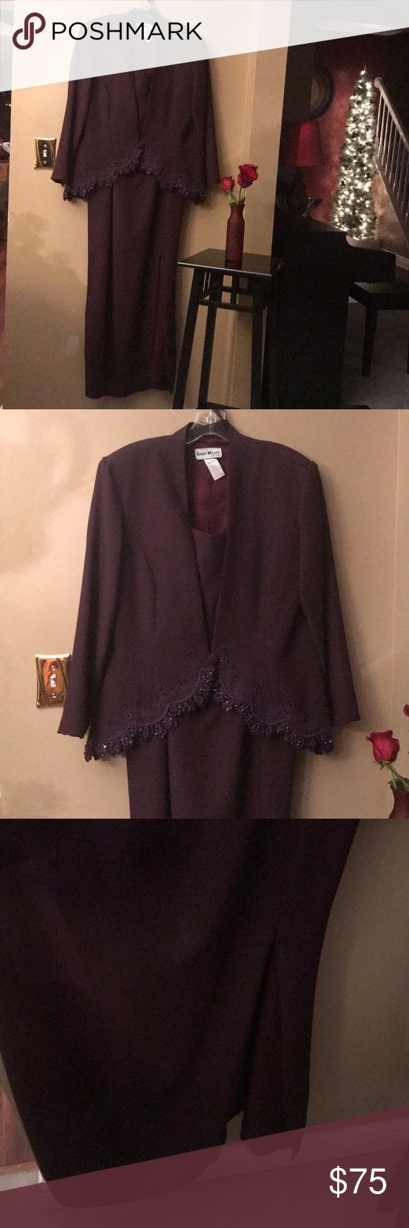 💖REDUCED💖 Karen Miller 2 Pc. Evening Gown Worn several years ago as a mother of the groom dress. It is in perfect condition. It is lined. No stains. No missing beads. Has been dry cleaned. Moving and getting rid of items. It's a gorgeous dark plum purple color. Make me an offer! 🎀😊 Karen Miller Dresses