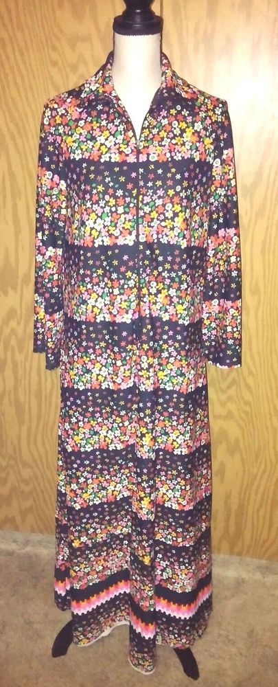 Women's Medium Large Dress Floral Zip Up Long Sleeve Hippie Maxi Full Length VTG #Unbranded #Maxi #Casual