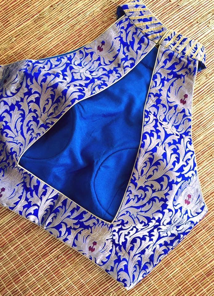 Modern cut sleeve high neck blue brocade