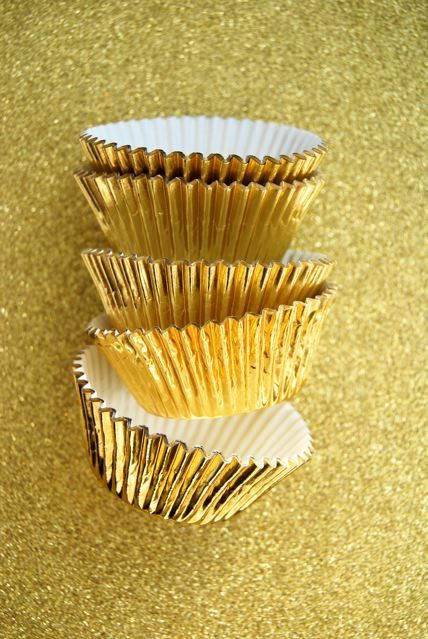 Gold Foil Cupcake Liners (50). $3.50, via Etsy.