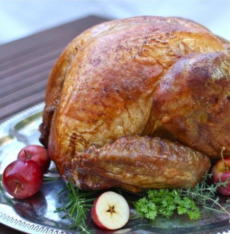 The Best Way to Roast a Turkey (the simple way) - add from Alton Brown So loosely pack your bird with any combination of fresh herbs (for instance, thyme, rosemary, and sage); one onion, two celery stalks, and two large carrots, all roughly chopped. But keep the packing loose