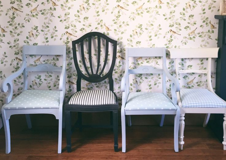 Available in our etsy shop, a set of four upholstered painted chairs