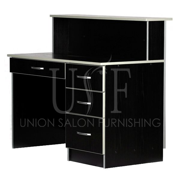 Reception desk with many storage compartments.