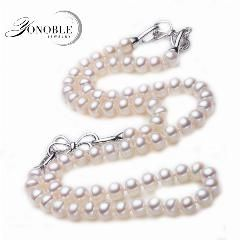 [ 20% OFF ] White Natural Pearl Jewelry 925 Silver Freshwater Pearl Jewelry Set For Girl Wedding Bridal Jewelry Sets Birthday Gift