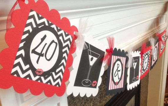 40  Fabulous Birthday Banner - Red and Black - Lips and Martini Theme - Matching Party Pack Available on Etsy, $28.00