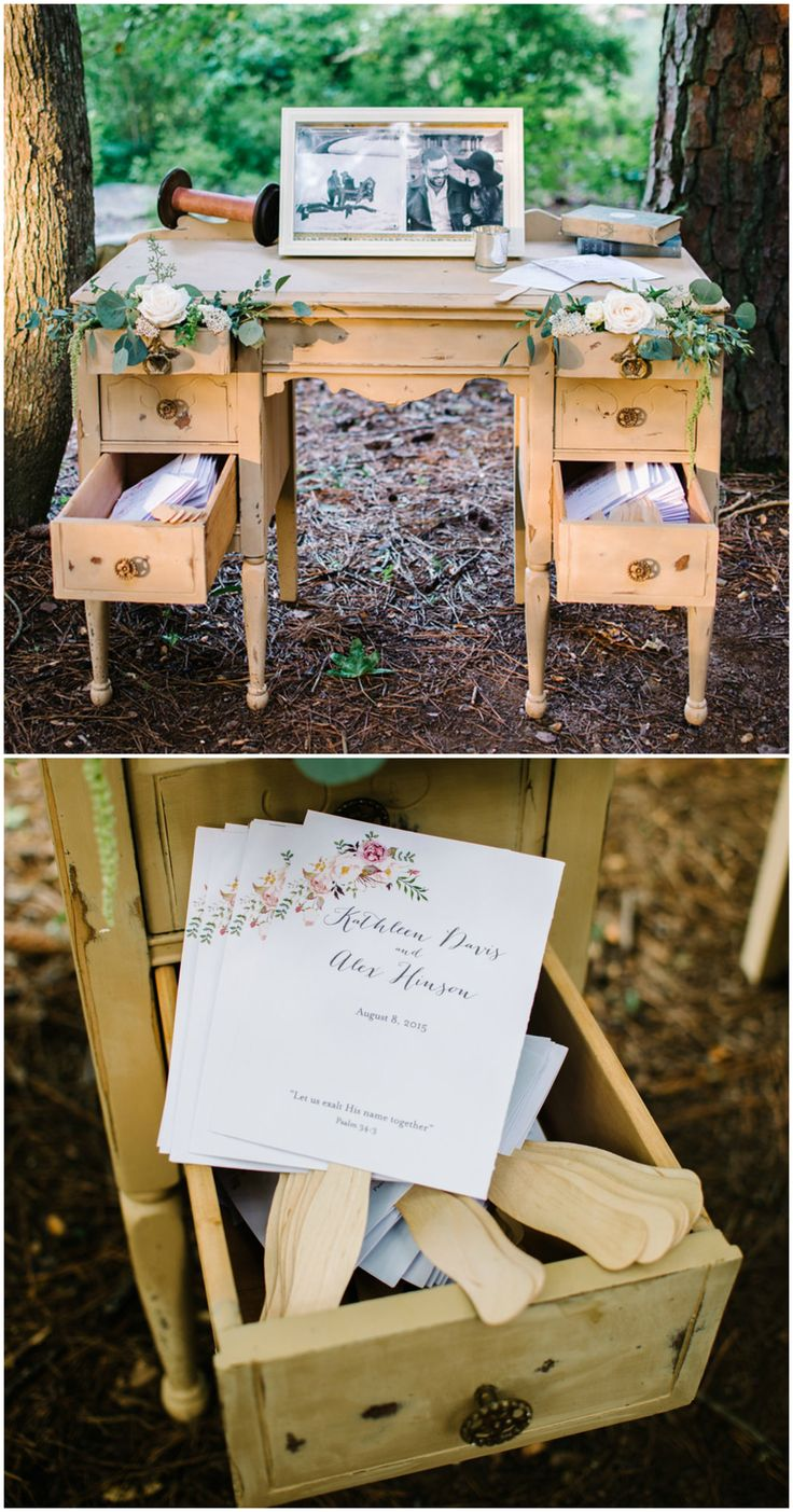 Antique desk, wedding furniture, ceremony fans // Cathrine Taylor Photography