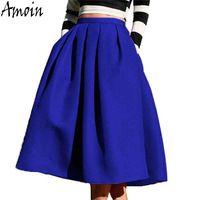 Amoin kadınlar moda mavi pileli midi etek yeni 2017 sonbahar yüksek bel vintage diz boyu kadın saia feminina faldas etek