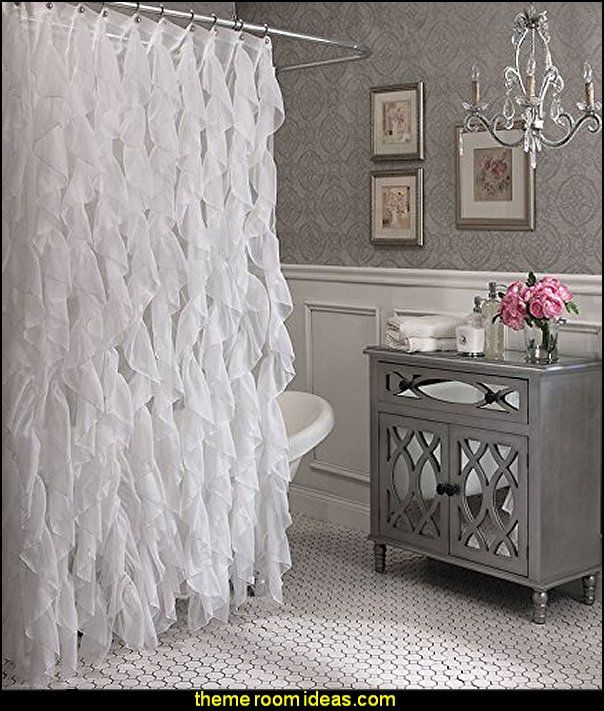 Glam Bathroom Decorating Cascade Shabby Chic Ruffled Sheer Shower Curtain Hollywood Style In 2018 Pinterest Bathrooms And